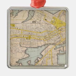 Mapa de Boston Adorno Cuadrado Plateado