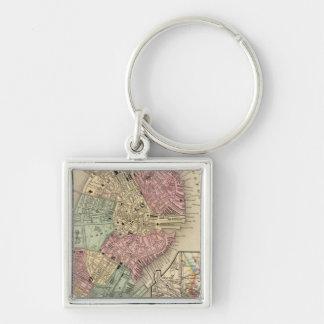 Mapa de Boston de Mitchell Llavero Cuadrado Plateado