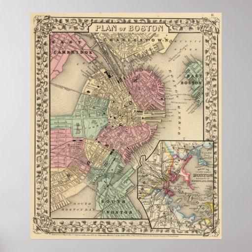 Mapa de Boston de Mitchell Poster