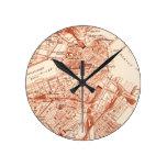 Mapa de Boston del vintage Reloj De Pared
