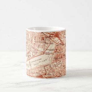 Mapa de Boston del vintage Taza De Café