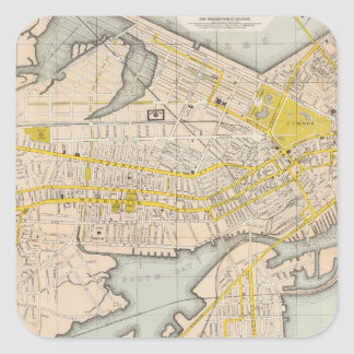 Mapa de Boston Pegatina Cuadrada