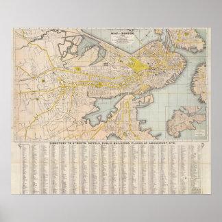 Mapa de Boston Poster