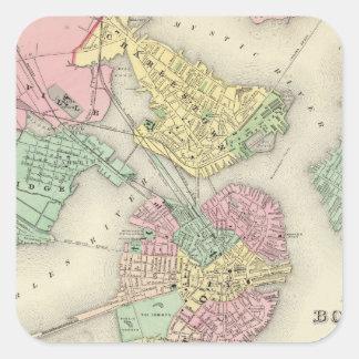 Mapa de Boston y de ciudades adyacentes Pegatina Cuadrada