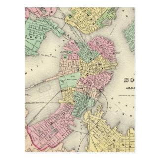 Mapa de Boston y de ciudades adyacentes Postales