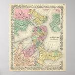 Mapa de Boston y de ciudades adyacentes Posters