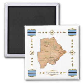 Mapa de Botswana + Imán de las banderas