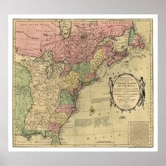 Mapa de Bowles de América 1784 Posters