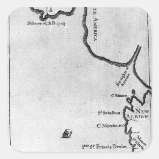Mapa de Brobdingnag Pegatina Cuadrada