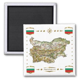 Mapa de Bulgaria + Imán de las banderas