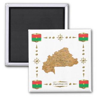 Mapa de Burkina Faso + Imán de las banderas