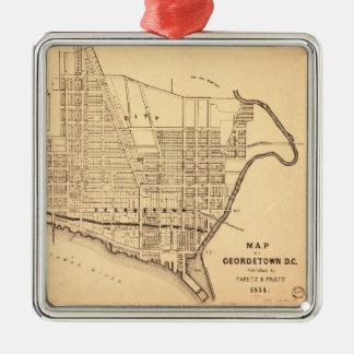 Mapa de C.C. de Georgetown (distrito de Columbia) Adorno Navideño Cuadrado De Metal
