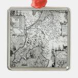 Mapa de Caernarvon, 1616 Adorno Navideño Cuadrado De Metal