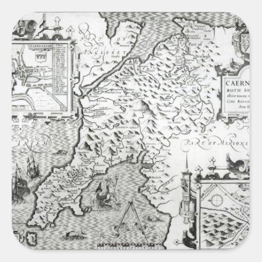 Mapa de Caernarvon, 1616 Calcomanías Cuadradass