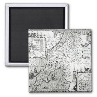 Mapa de Caernarvon, 1616 Imán De Frigorífico