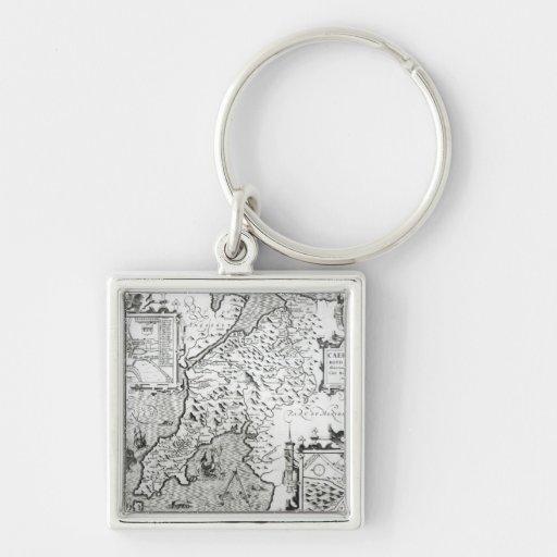 Mapa de Caernarvon, 1616 Llavero Cuadrado Plateado