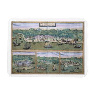 """Mapa de Calicut, de """"Civitates Orbis Terrarum"""" cer Imanes Rectangulares"""