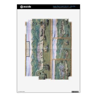 "Mapa de Calicut, de ""Civitates Orbis Terrarum"" cer Pegatina Skin Para iPad 3"