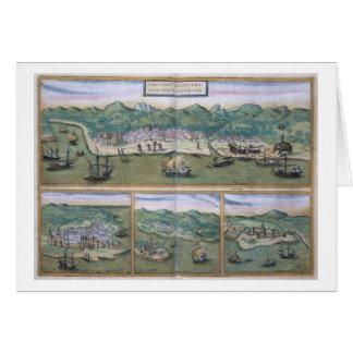 "Mapa de Calicut, de ""Civitates Orbis Terrarum"" cer Tarjeta De Felicitación"