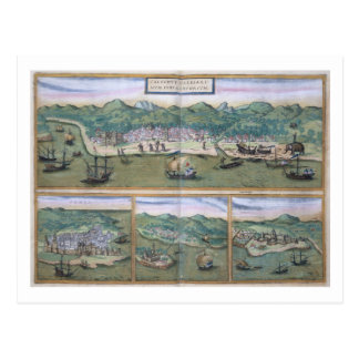 "Mapa de Calicut, de ""Civitates Orbis Terrarum"" Tarjetas Postales"