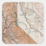 Mapa de California 2 Pegatinas Cuadradas Personalizadas