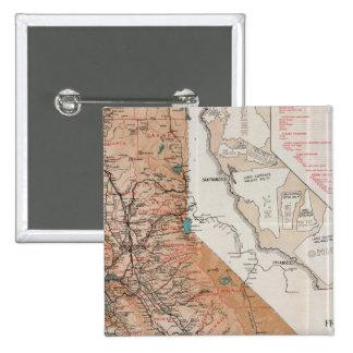 Mapa de California 2 Pin Cuadrada 5 Cm