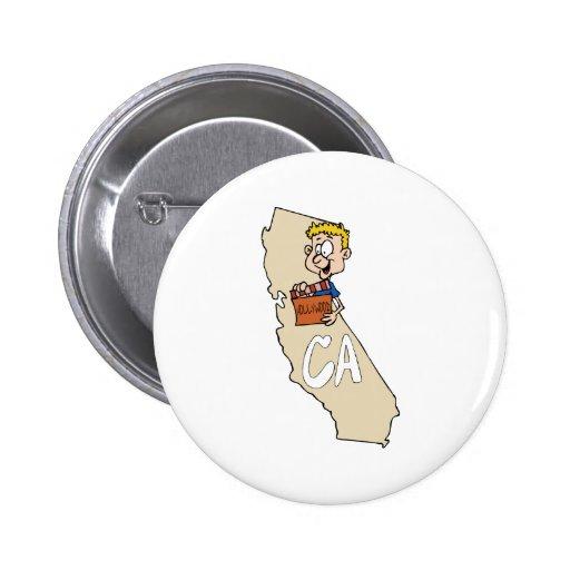 Mapa de California CA y acción divertida de la pel Pins