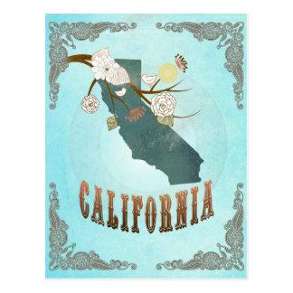 Mapa de California con los pájaros preciosos Postal
