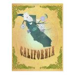 Mapa de California con los pájaros preciosos Tarjetas Postales