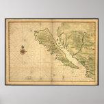 Mapa de California de los 1650's del vintage - mos Poster