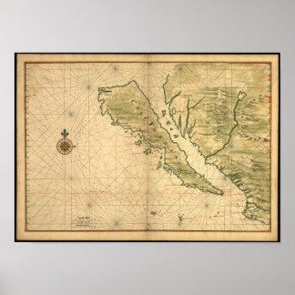 Mapa de California de los 1650's del vintage - mos Póster