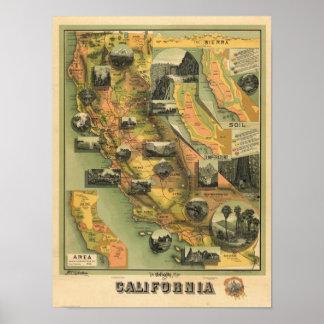 Mapa de California Impresiones