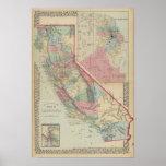 Mapa de California, San Francisco de Mitchell Poster