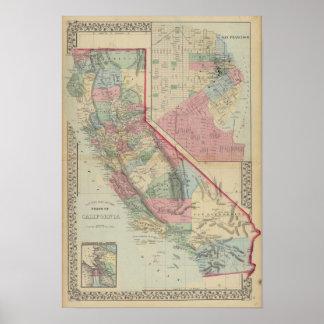 Mapa de California San Francisco de Mitchell Poster