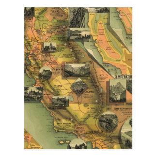 Mapa de California Tarjeta Postal
