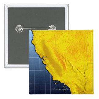 Mapa de California y de Nevada Pin Cuadrado