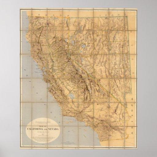 Mapa de California y de Nevada Póster