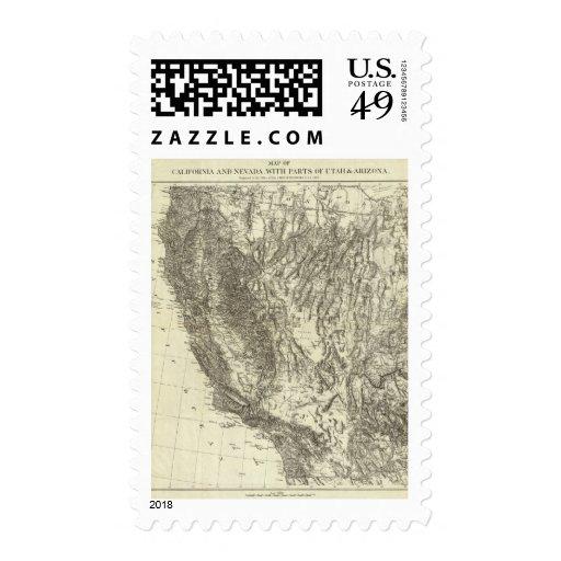 Mapa de California y de Nevada Sello
