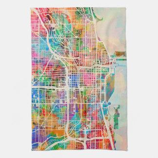 Mapa de calle de la ciudad de Chicago Toalla