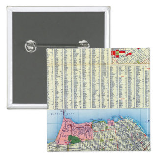 Mapa de calle de San Francisco Pin Cuadrada 5 Cm