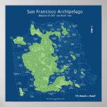 """Mapa de calle de San Francisco sumergido 18x18 """" Póster"""