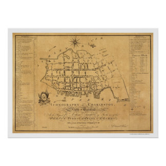 Mapa de calle del SC de Charleston 1788 Póster