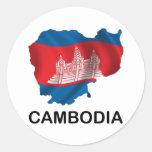 Mapa de Camboya Etiquetas Redondas
