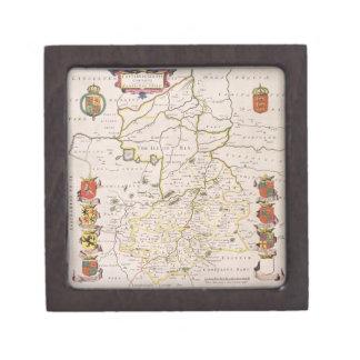 Mapa de Cambridgeshire, Amsterdam publicada c.1647 Cajas De Recuerdo De Calidad