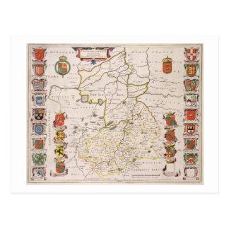 Mapa de Cambridgeshire, Amsterdam publicada c.1647 Tarjeta Postal