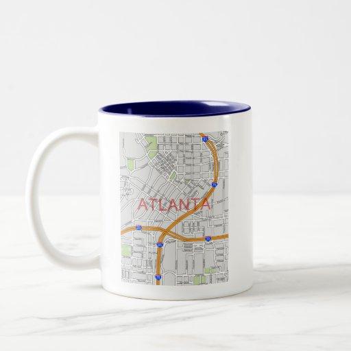 Mapa de camino de Atlanta Peachtree Taza De Café De Dos Colores