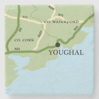 Mapa de camino de Irlanda del corcho del condado Posavasos De Piedra