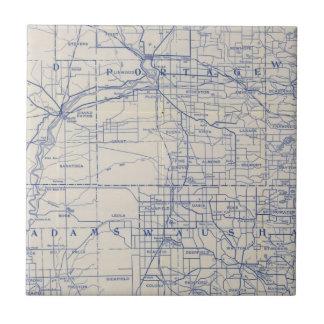 Mapa de camino de la bicicleta de Wisconsin 2 Azulejos Cerámicos