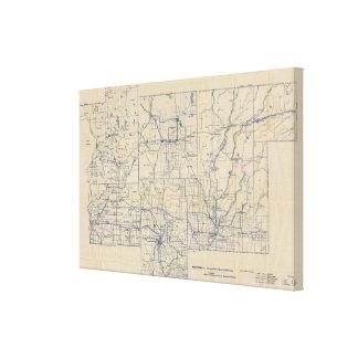 Mapa de camino de la bicicleta de Wisconsin 2 Lona Estirada Galerías