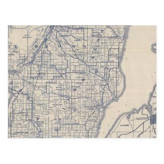 Mapa de camino de la bicicleta de Wisconsin 2 Tarjeta Postal